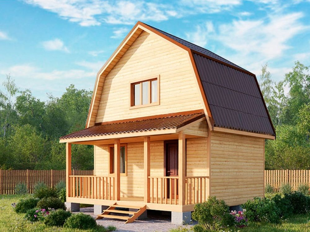 Двухэтажный дачный дом 4х4 с террасой