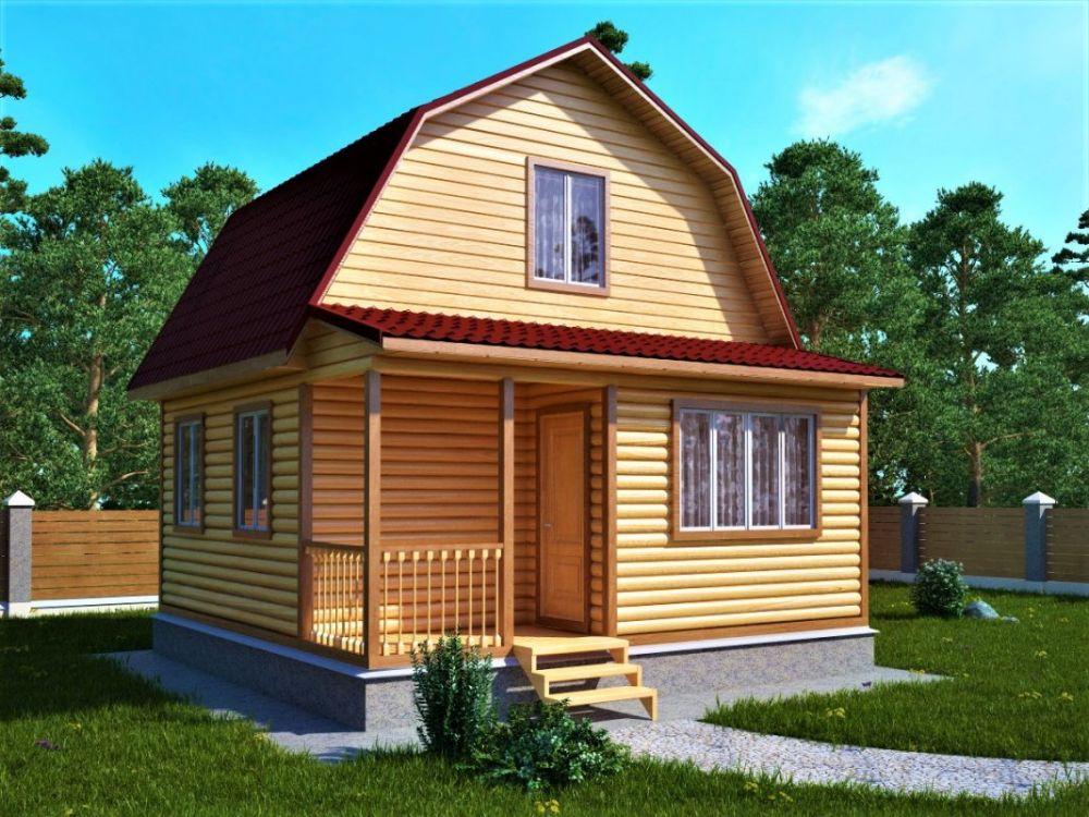 Дачный дом с ломаной крышей 4х4м с верандой и террасой