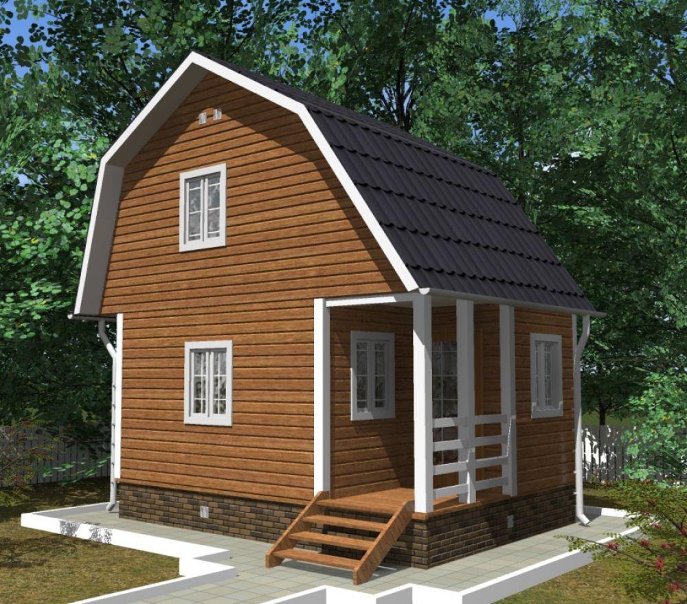 Садовый дом с ломаной крышей 6х4м
