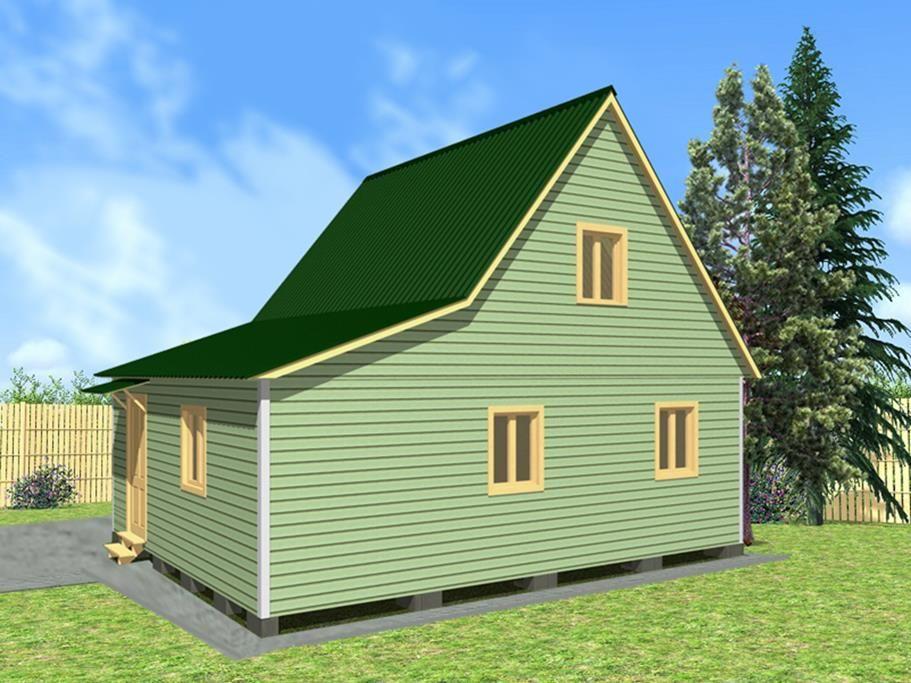 Дачный дом 6х8 с верандой
