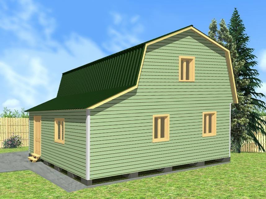 Двухэтажный дачный дом 6х8 с верандой