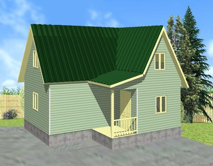 Дачный дом сложной формы и мансардным этажом