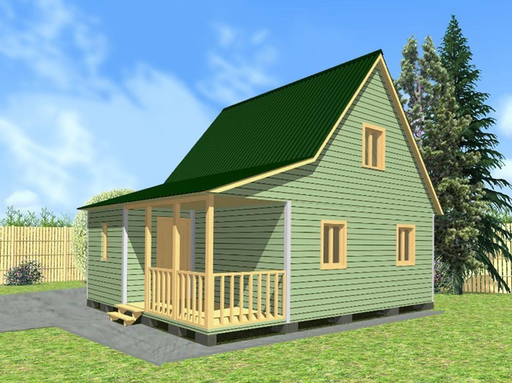 Дачный дом 6х8 с террасой и верандой