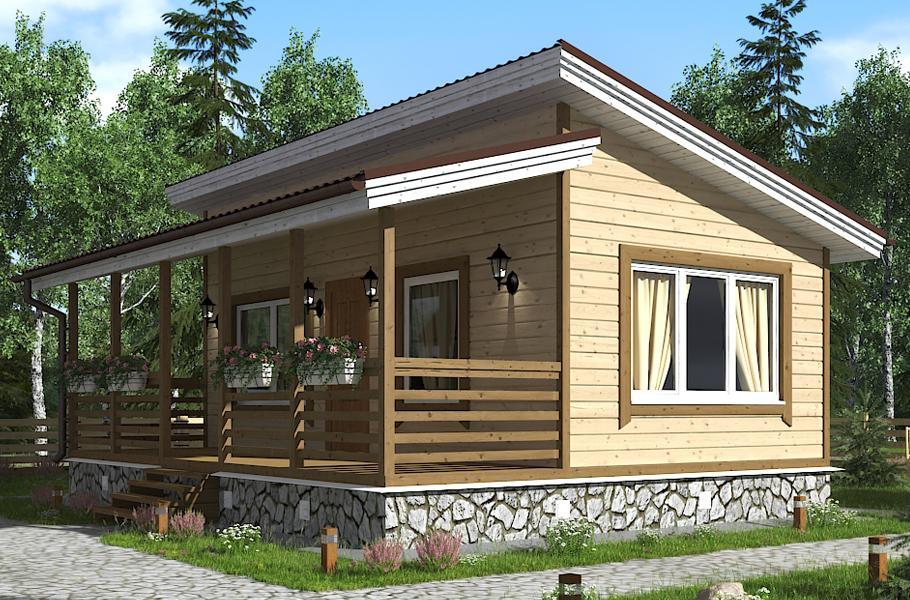Одноэтажный садовый дом 6х6
