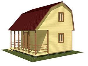Двухэтажный дачный дом 6х5,5 с террасой