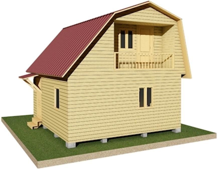 Двухэтажный дачный дом 5,5х6 с балконом