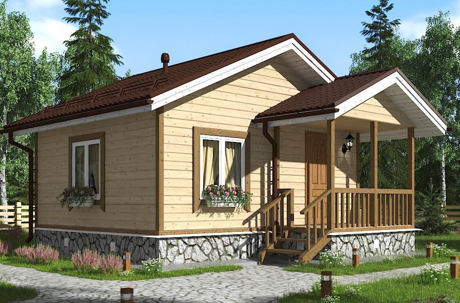 Дачный дом 4х4 с крыльцом