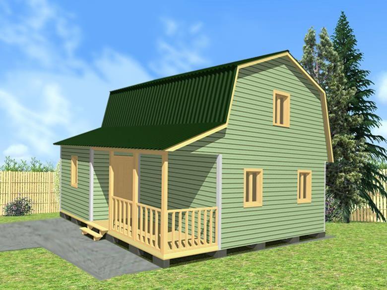 Двухэтажный дачный дом 6х8 с верандой и террасой