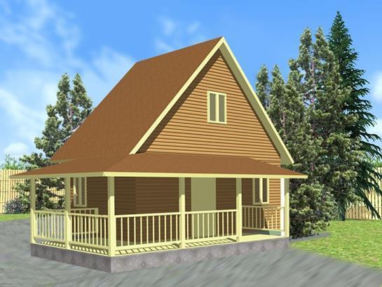 Дачный дом с Г-образной террасой