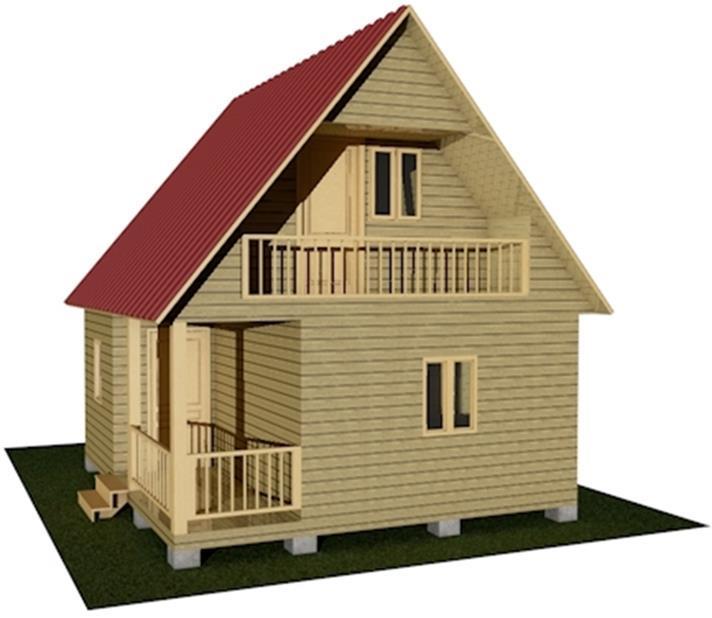 Дачный дом 6х5,5 с террасой и балконом