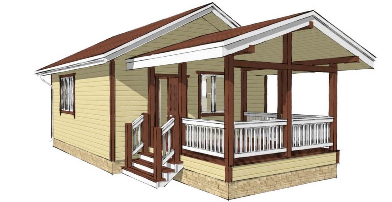 Дачный дом 4х4 с террасой