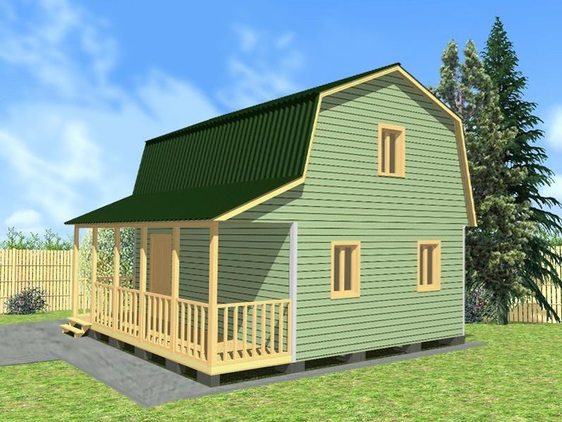 Двухэтажный дачный дом 6х8 с террасой