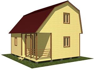 Двухэтажный дачный дом с террасой и верандой