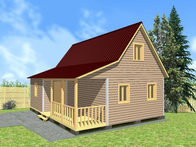 Садовый дом 6х7 с террасой и верандой