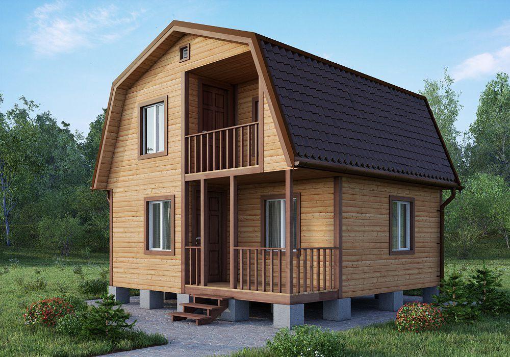 Двухэтажный дачный дом 6х4 с балконом