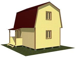 Двухэтажный дачный дом 6х4
