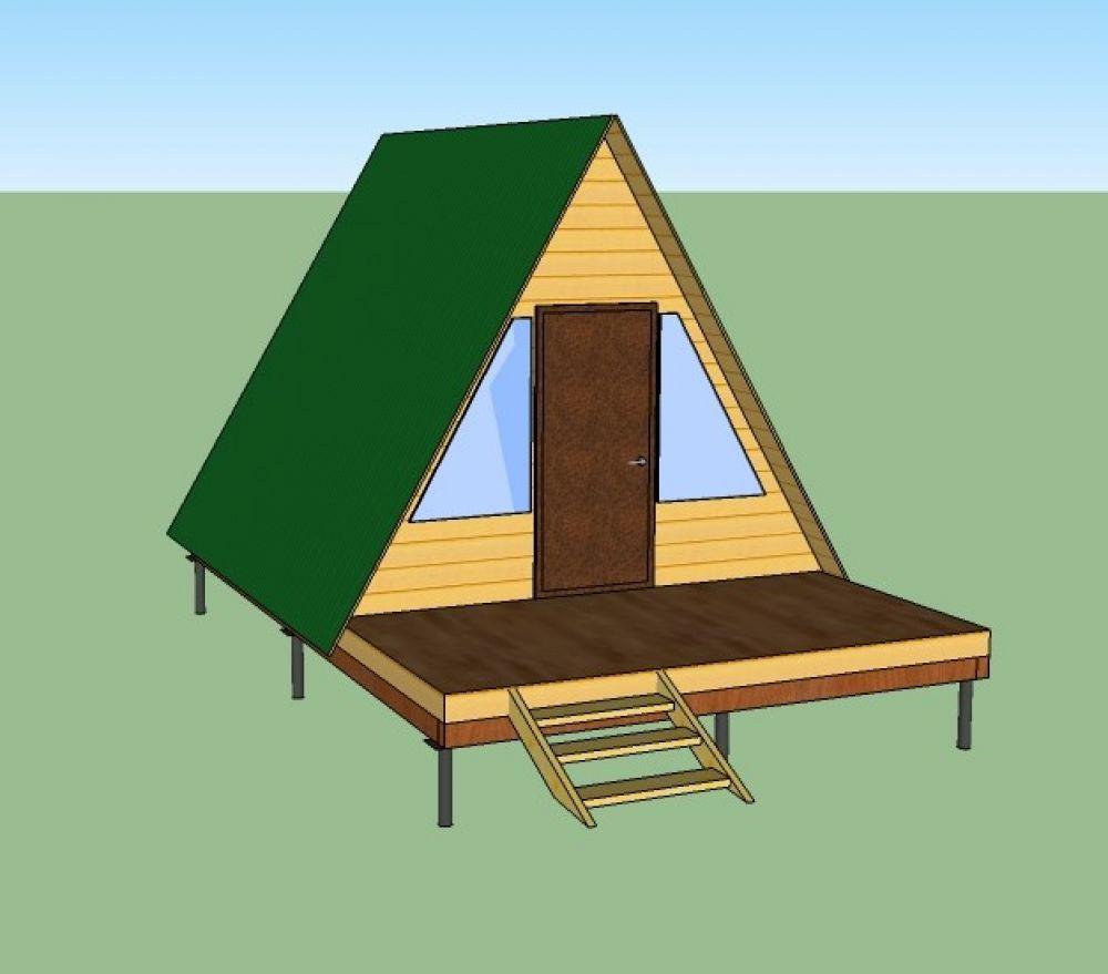 Одноэтажный дом - шалаш с террасой